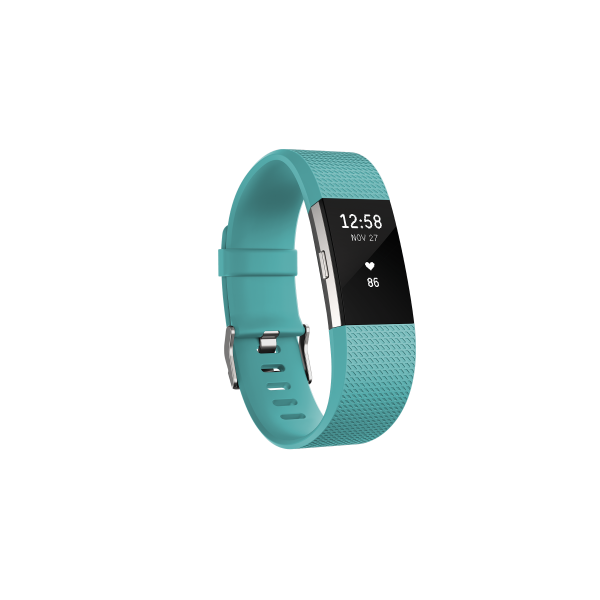 Fitbit CHARGE 2 Teal Silver Herzfrequenz- und Fitness-Armband