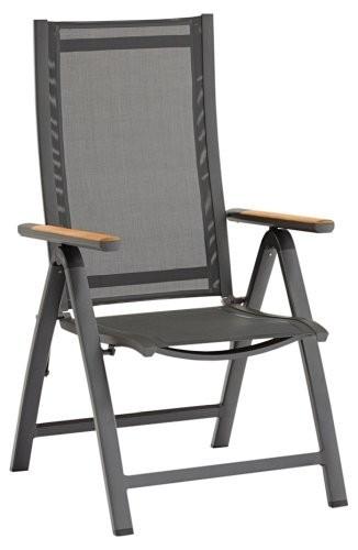 ZEBRA Gartenmöbelreihe FLY Relax Sessel graphite mit Teakarmlehnen - Retourenschnäppchen