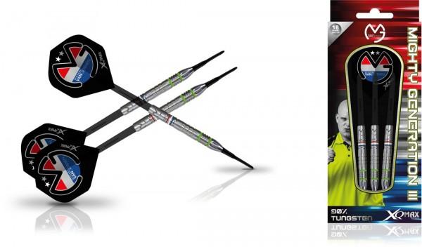 """XQMAX Michael van Gerwen """"Mighty Generation III"""" 90% Soft Darts"""